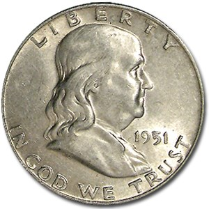 1951-D Franklin Half Dollar AU