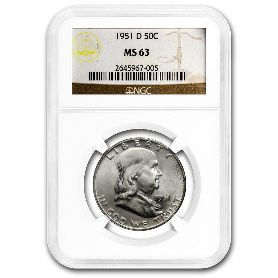 1951-D Franklin Half Dollar MS-63 NGC
