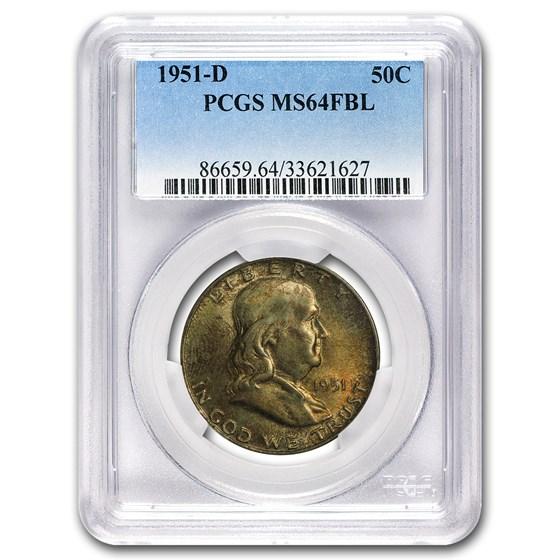 1951-D Franklin Half Dollar MS-64 PCGS (FBL)