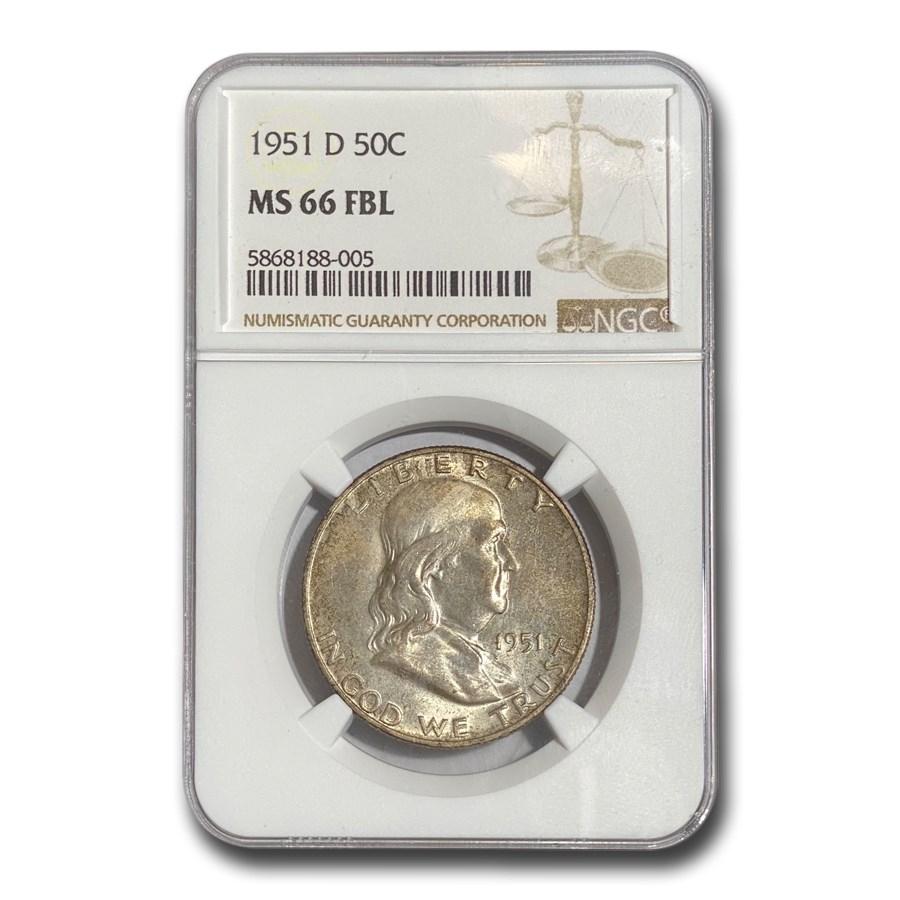 1951-D Franklin Half Dollar MS-66 NGC (FBL)