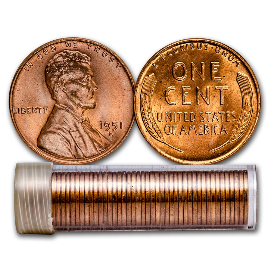 1951-D Lincoln Cent 50-Coin Roll BU