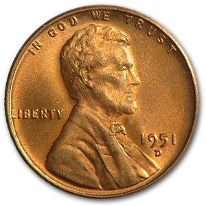 1951-D Lincoln Cent BU (Red)