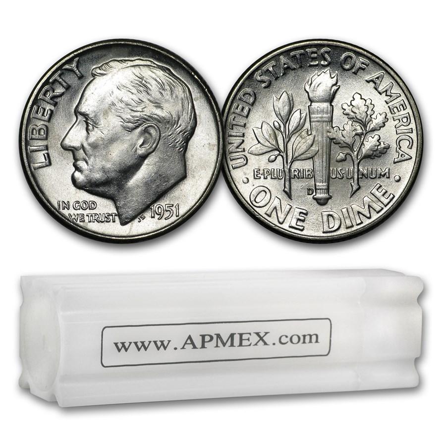 1951-D Roosevelt Dime 50-Coin Roll BU