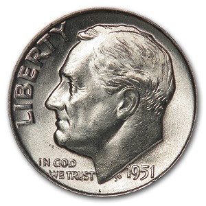 1951-D Roosevelt Dime BU