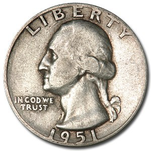 1951-D Washington Quarter VG/XF