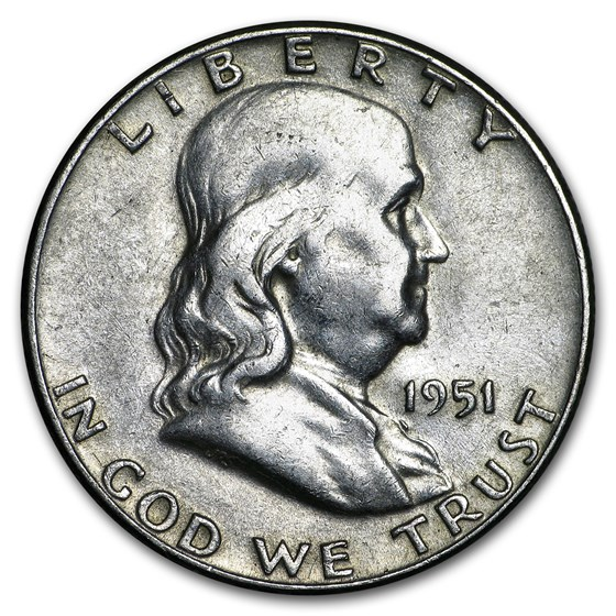 1951 Franklin Half Dollar Fine/XF