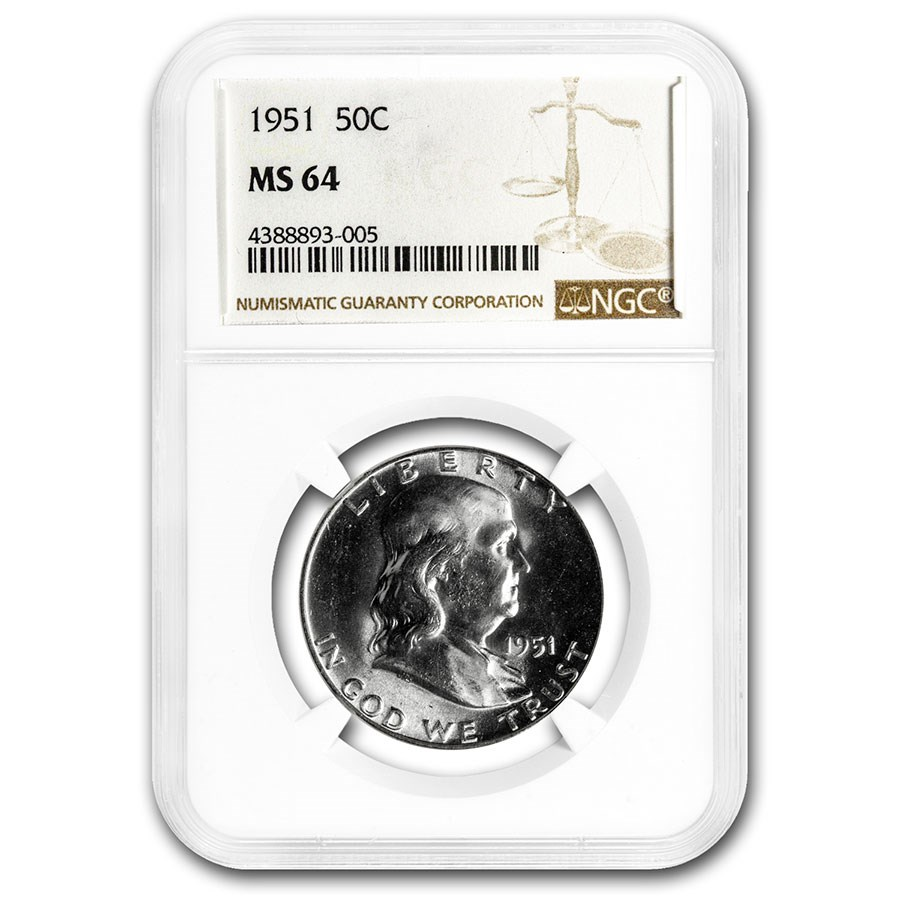 1951 Franklin Half Dollar MS-64 NGC