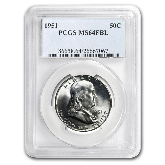 1951 Franklin Half Dollar MS-64 PCGS (FBL)