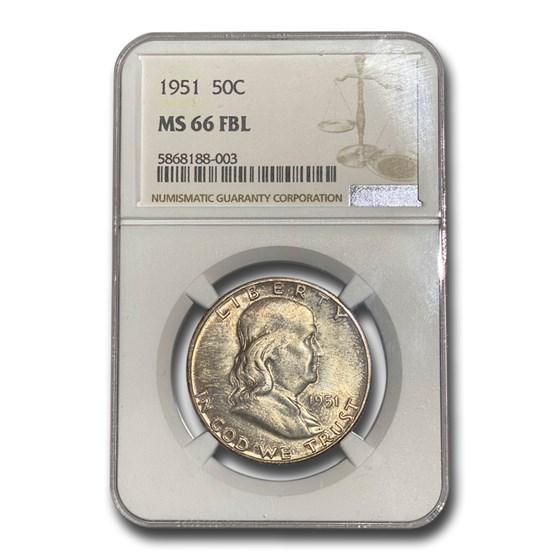 1951 Franklin Half Dollar MS-66 NGC (FB)