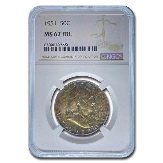 1951 Franklin Half Dollar MS-67 NGC (FBL)