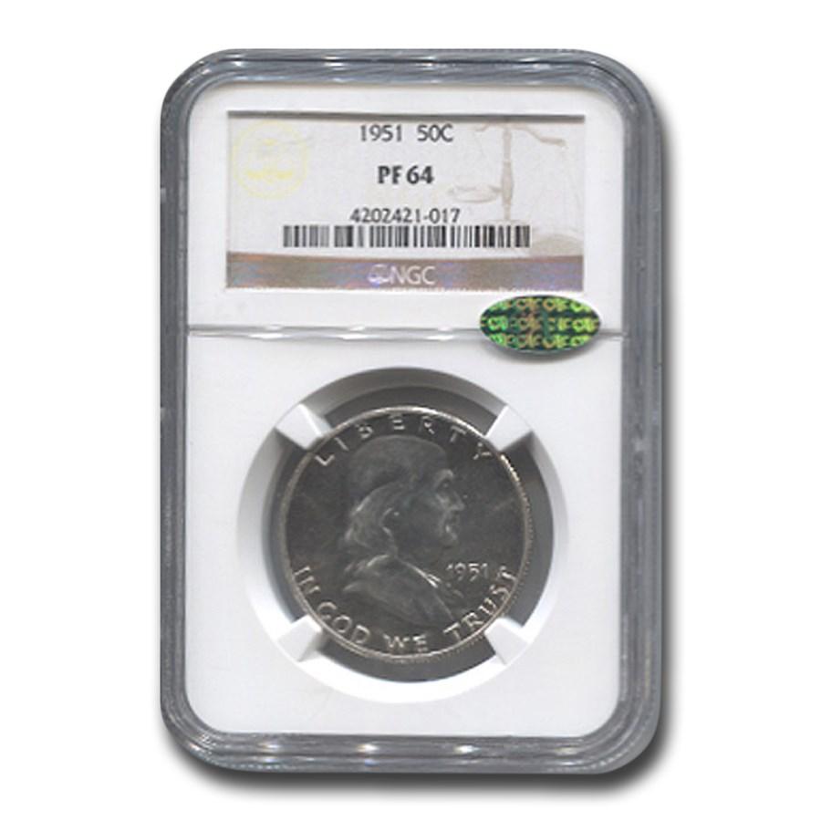1951 Franklin Half Dollar PF-64 NGC CAC