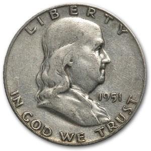 1951-S Franklin Half Dollar Fine/XF
