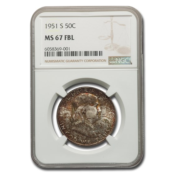 1951-S Franklin Half Dollar MS-67 NGC (FBL)