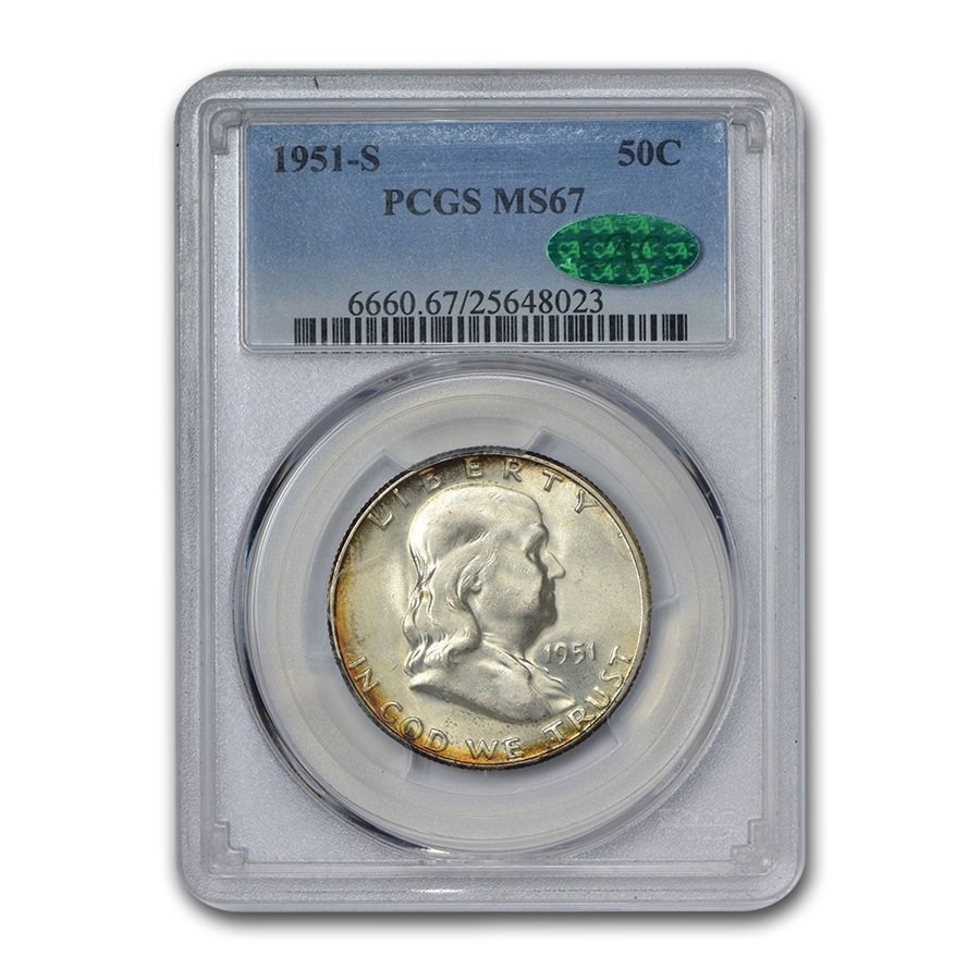 1951-S Franklin Half Dollar MS-67 PCGS CAC