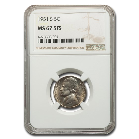 1951-S Jefferson Nickel MS-67 NGC (FS)