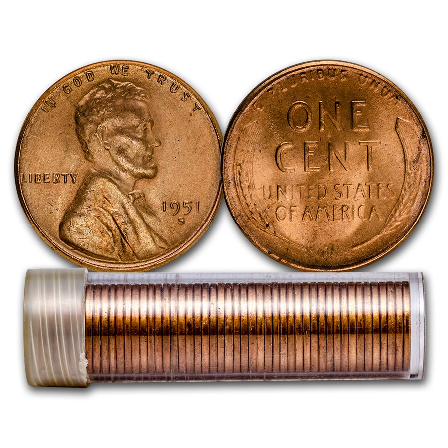 1951-S Lincoln Cent 50-Coin Roll BU