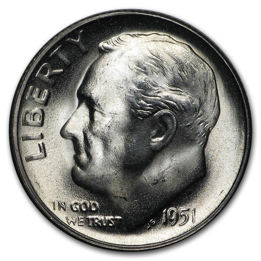 1951-S Roosevelt Dime BU