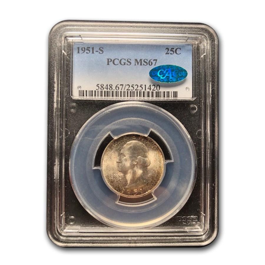 1951-S Washington Quarter MS-67 PCGS CAC