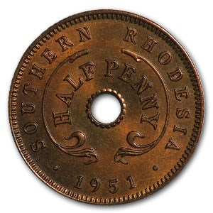 1951 Southern Rhodesia 1/2 Penny George VI BU (Red)