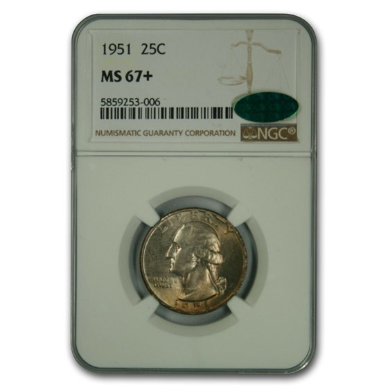 1951 Washington Quarter MS-67+ NGC CAC