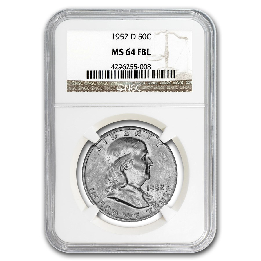 1952-D Franklin Half Dollar MS-64 NGC (FBL)