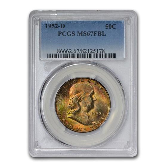 1952-D Franklin Half Dollar MS-67 PCGS (FBL, Beautiful Toning)