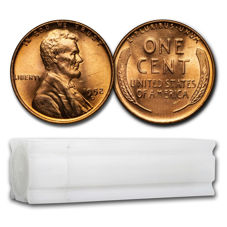 1952-D Lincoln Cent 50-Coin Roll BU