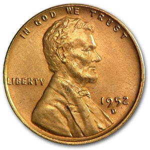 1952-D Lincoln Cent BU (Red)