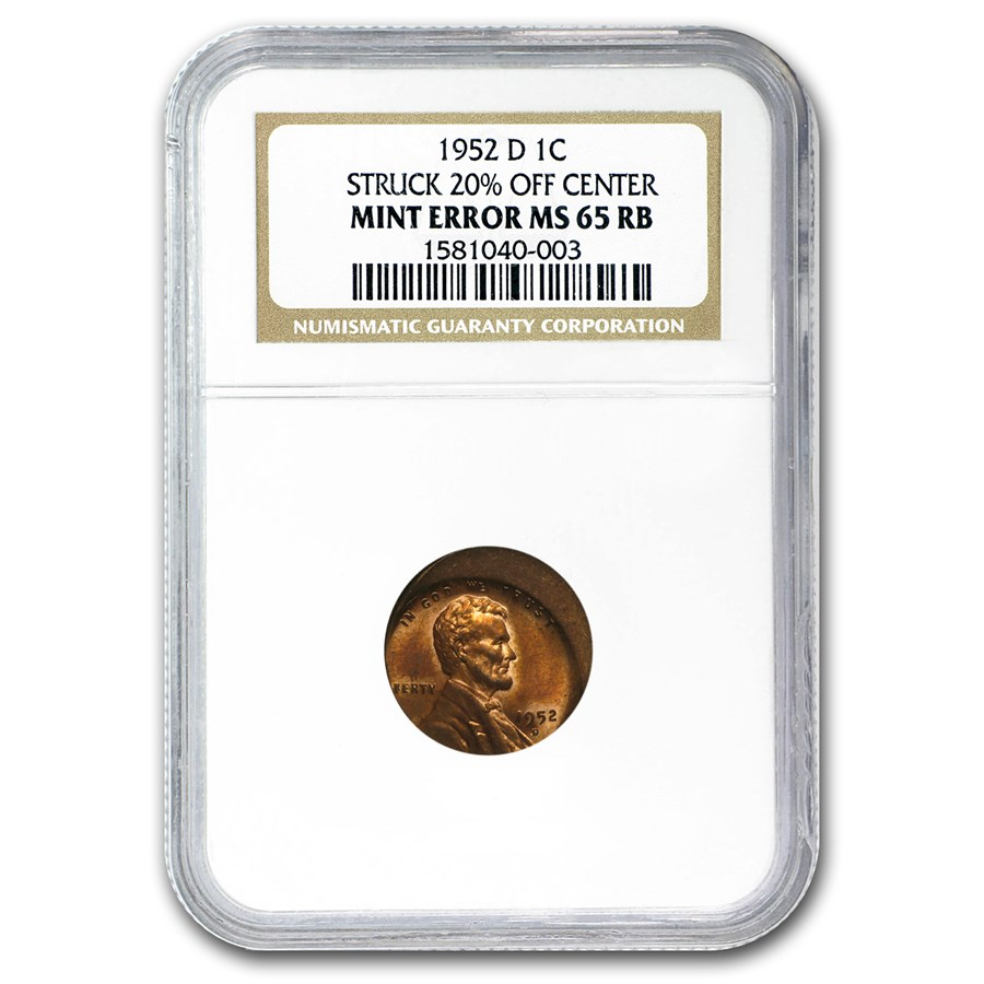 1952-D Lincoln Cent Struck 20% Off Center MS-65 NGC (Red/Brown)