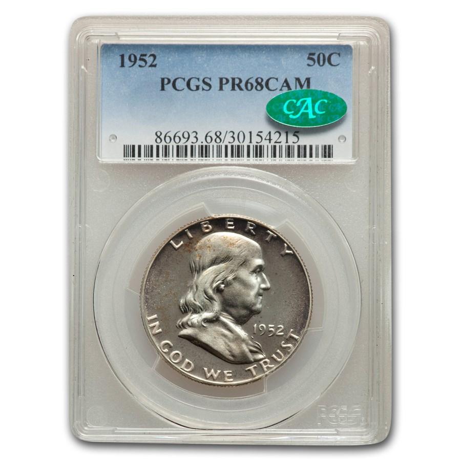 1952 Franklin Half Dollar PR-68 Cameo PCGS CAC