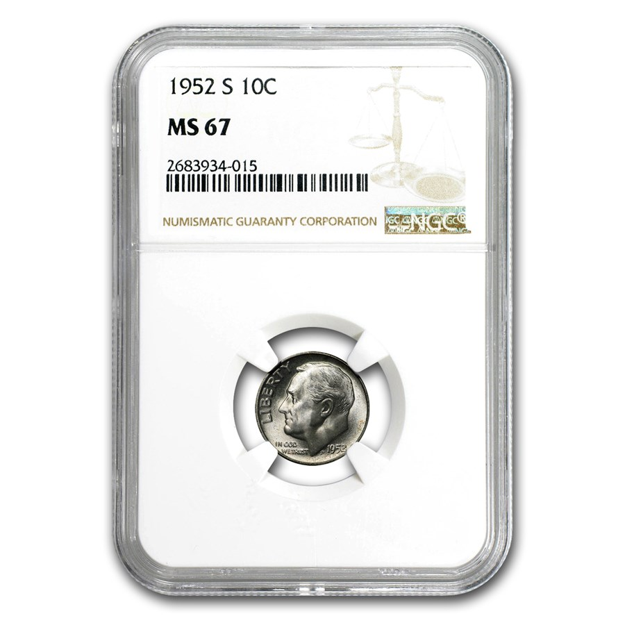 1952-S Roosevelt Dime MS-67 NGC