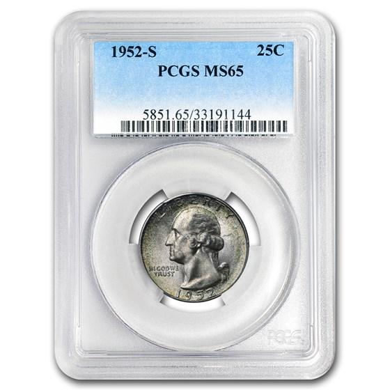1952-S Washington Quarter MS-65 PCGS (Mint Set Toning)