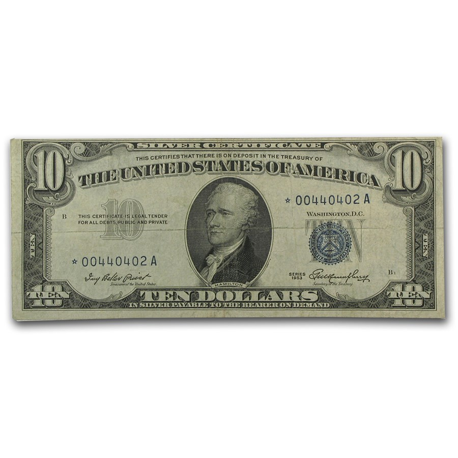 1953* $10 Silver Certificate F/VF