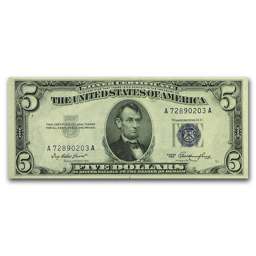 1953-1953-B $5.00 Silver Certificate CU