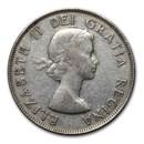 1953-1958 Canada Silver 50 Cents Elizabeth II Avg Circ