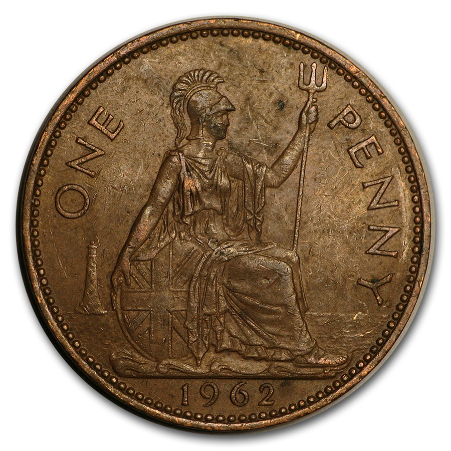 1953-1967 Great Britain Large Penny Elizabeth II Avg Circ