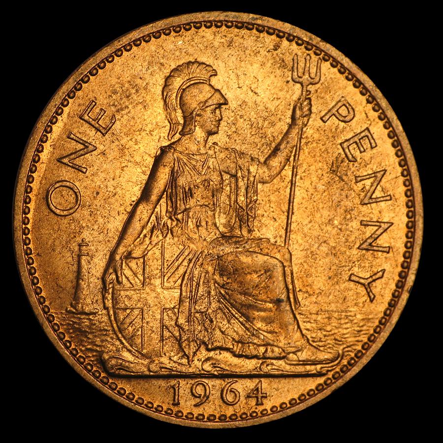 1953-1967 Great Britain Large Penny Elizabeth II BU