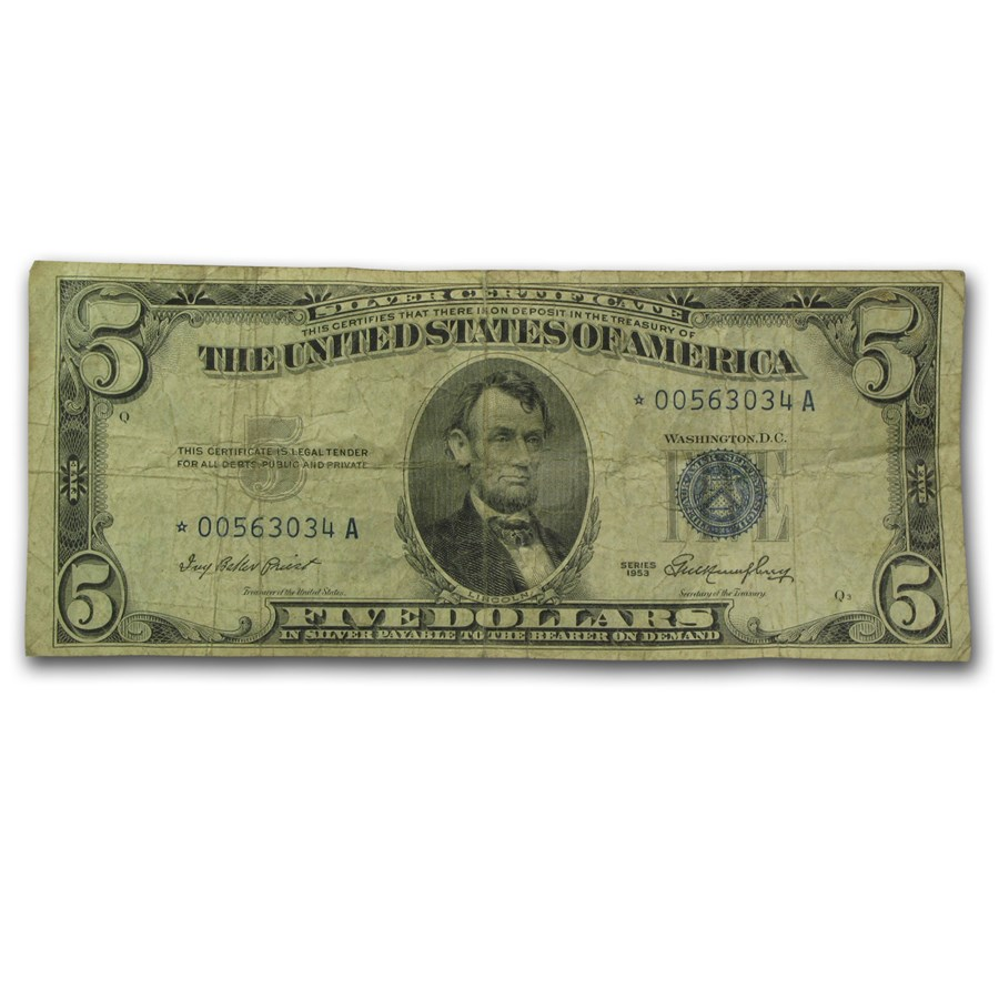 1953* $5.00 Silver Certificate Cull/Good (Fr#1655*) Star Note