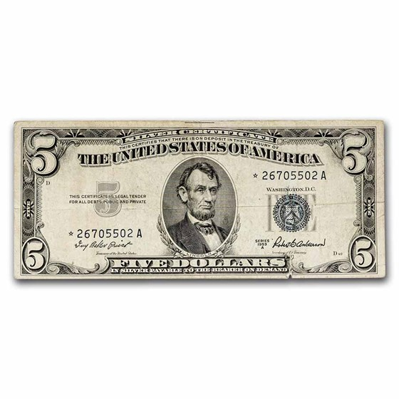 1953* $5.00 Silver Certificate VG (Fr#1655*) Star Note