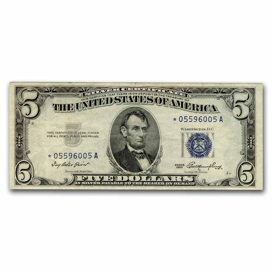1953* $5.00 Silver Certificate XF (Fr#1655*) Star Note