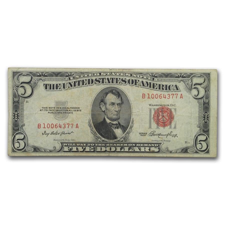 1953 $5.00 U.S. Note Red Seal Avg Circ VG/VF (Fr#1532)