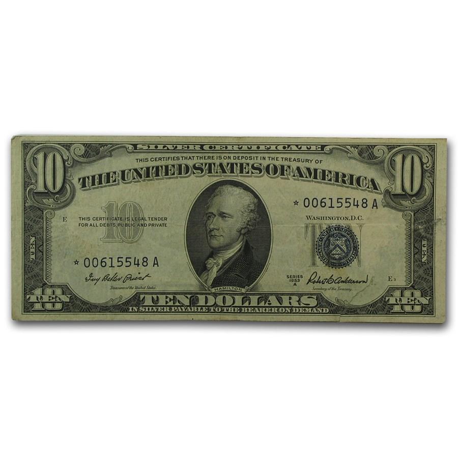 1953-A* $10 Silver Certificate VF