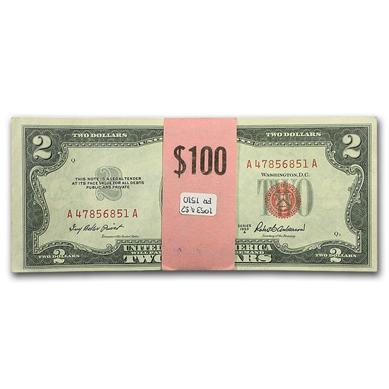 1953-A $2.00 U.S. Notes Red Seal CU (50 consecutive notes)