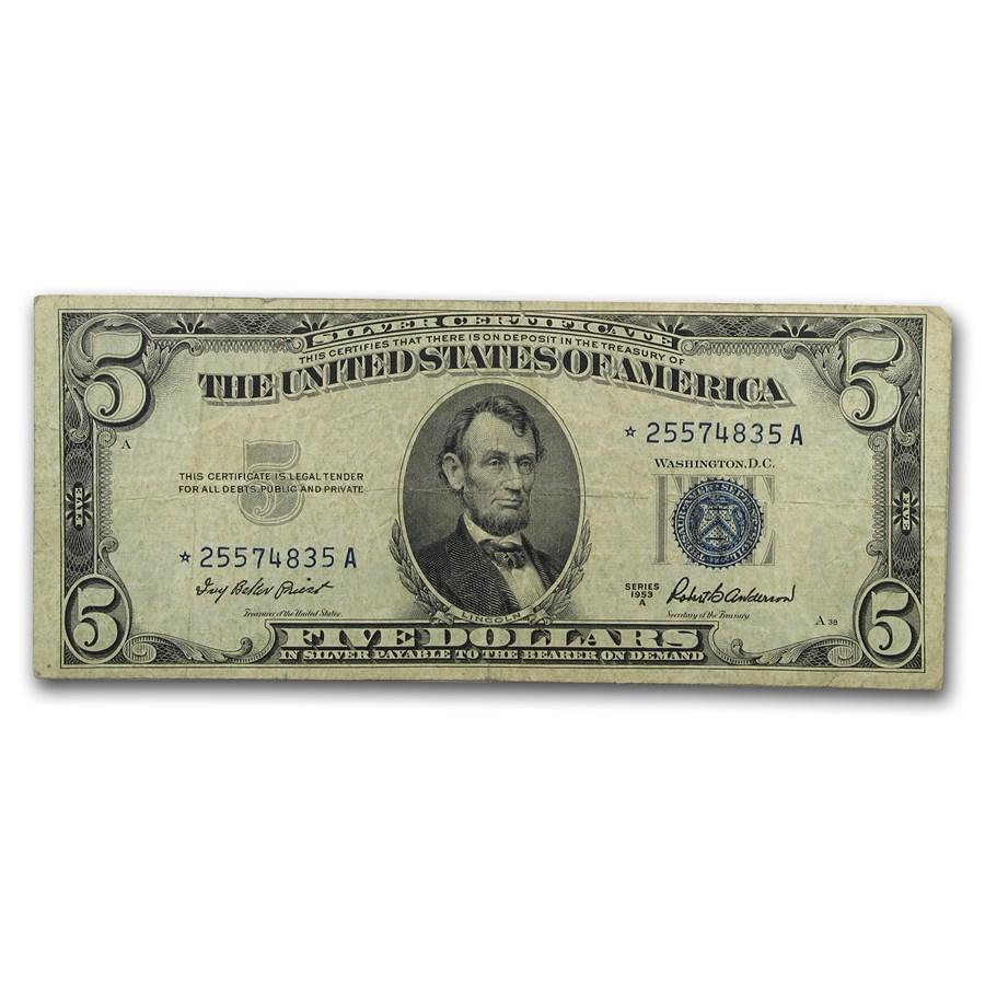 1953-A* $5.00 Silver Certificate Fine (Fr#1656*) Star Note