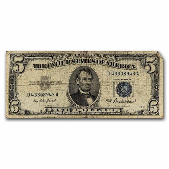 1953-A $5.00 Silver Certificate VG/VF (Fr#1656)