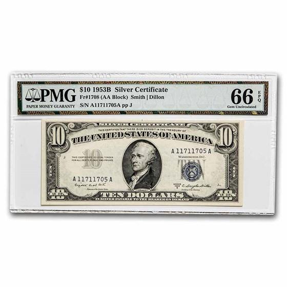 1953-B $10 Silver Certificate Gem CU-66 EPQ PMG (Fr#1708)