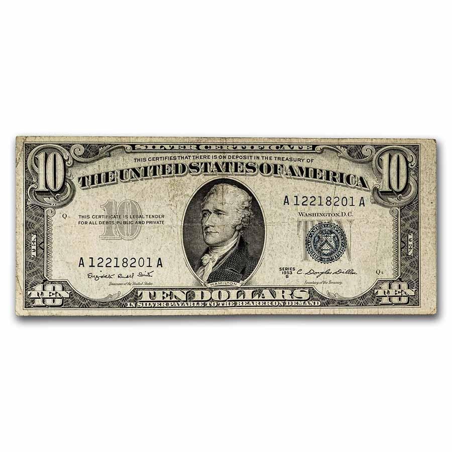 1953-B $10 Silver Certificate VF (Fr#1708)