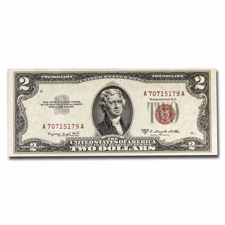 1953-B $2.00 U.S. Notes Red Seal AU (Fr#1511)