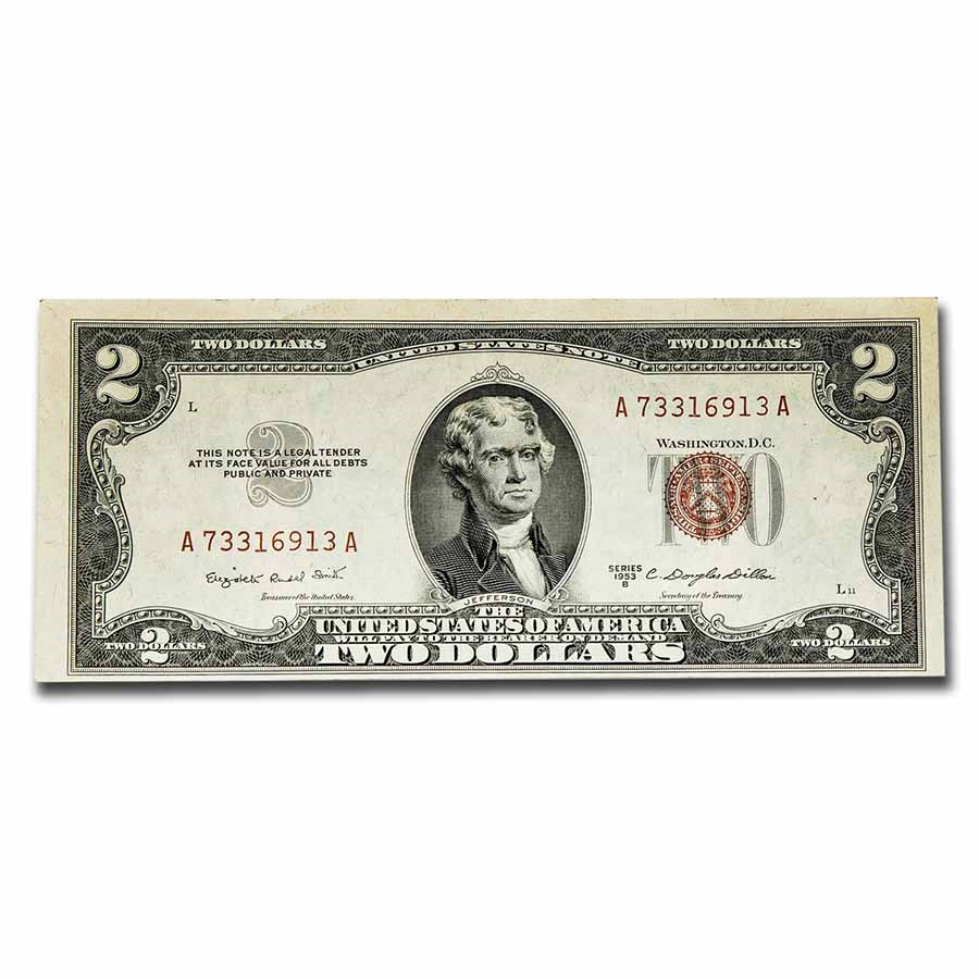 1953-B $2.00 U.S. Notes Red Seal XF (Fr#1511)