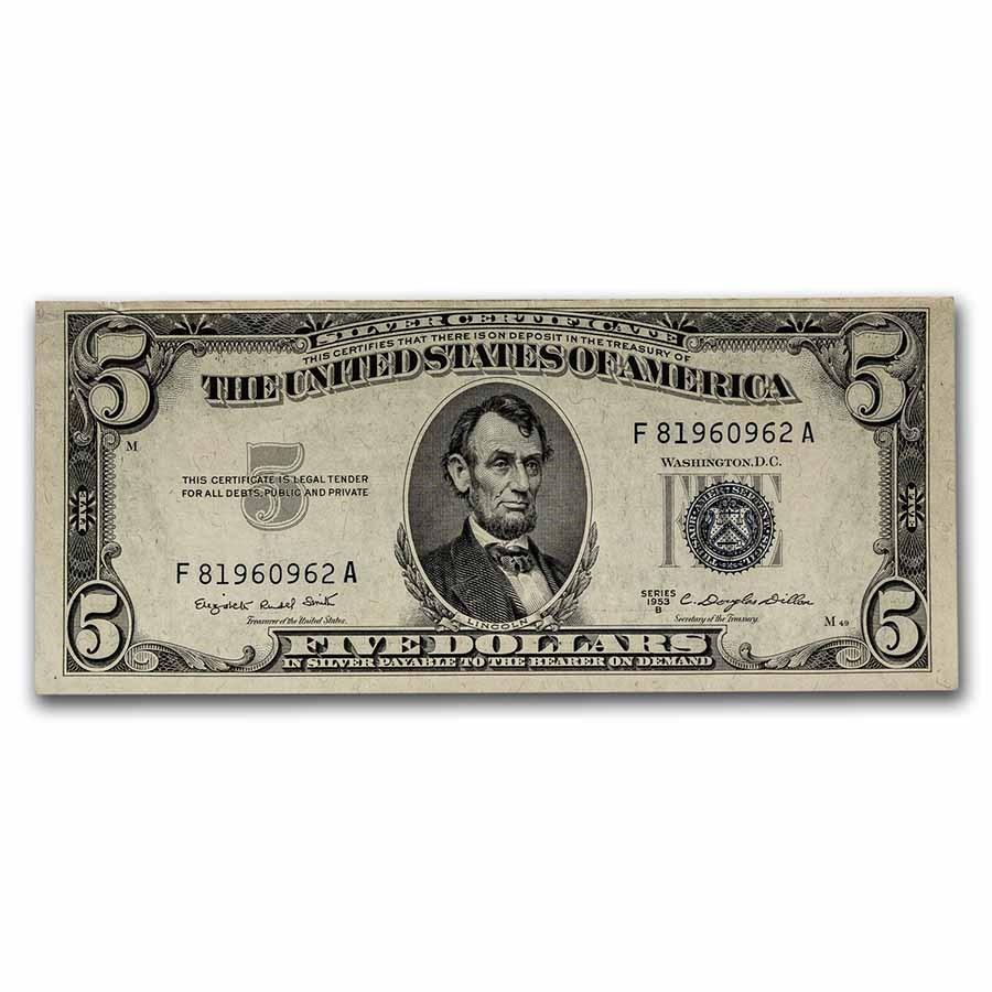 1953-B $5.00 Silver Certificate AU (Fr#1657)